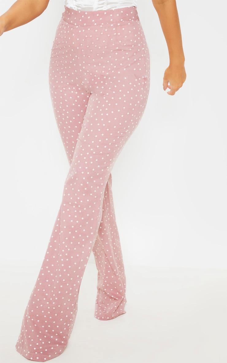 Pastel Pink Polka Dot High Waisted Wide Leg Pants 2