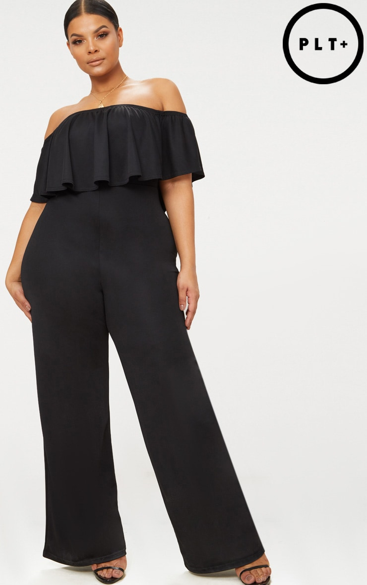 Plus Black Bardot Frill Jumpsuit 1
