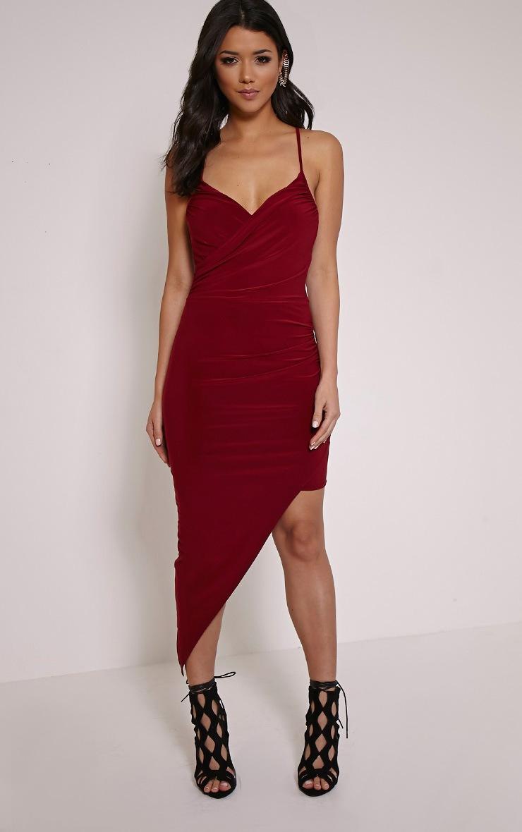 Zaire Burgundy Cross Back Asymmetric Ruched Dress 4