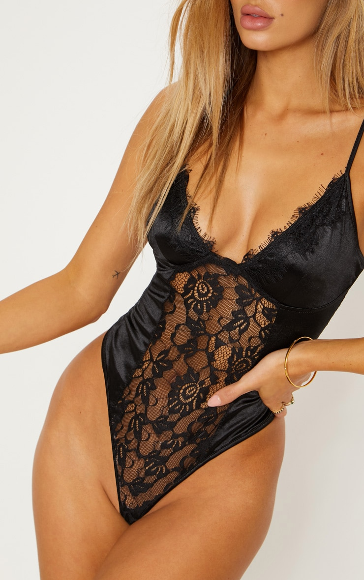 Black Satin Lace Insert Body 6