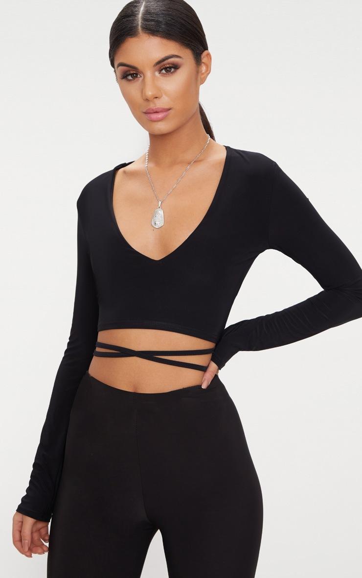 Black Slinky Long Sleeve Tie Waist Crop Top  2