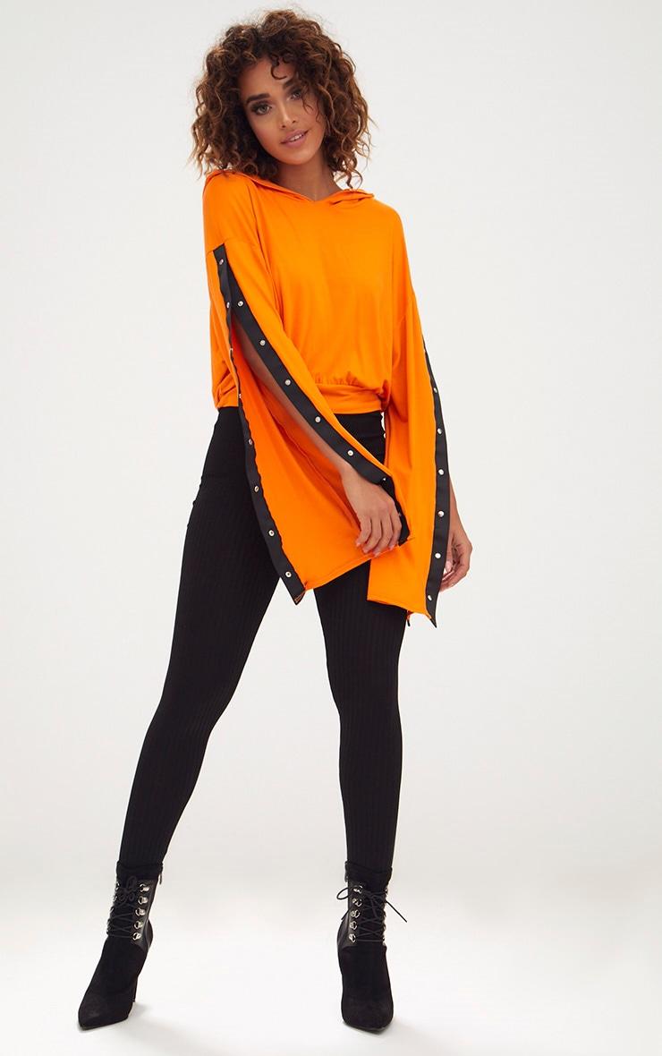 Orange Jersey Popper Sleeve Hoodie 1
