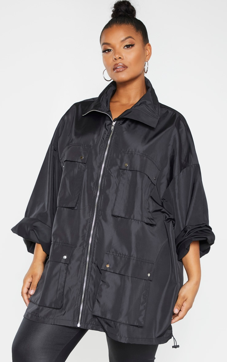 Plus Black Oversized Shell Utility Jacket 1