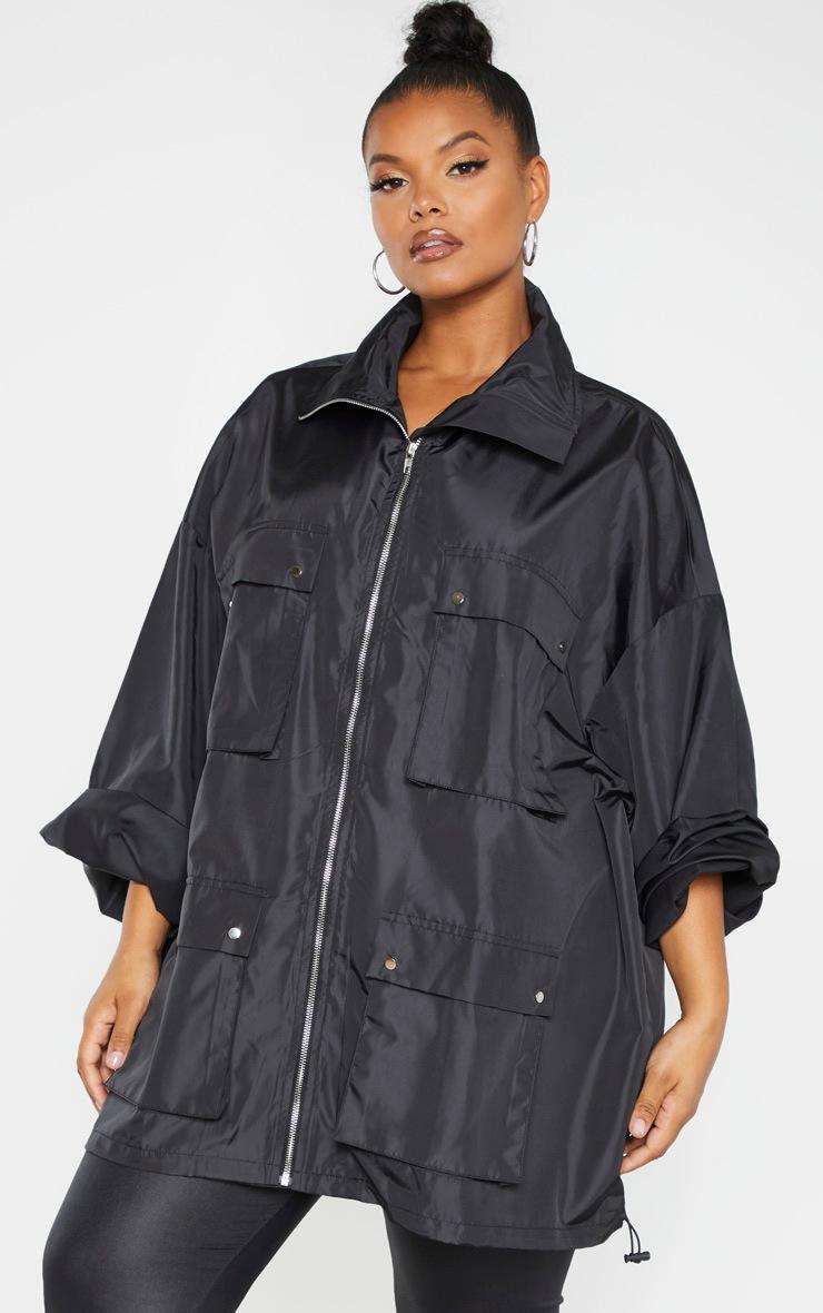 Plus Black Oversized Shell Utility Jacket by Prettylittlething
