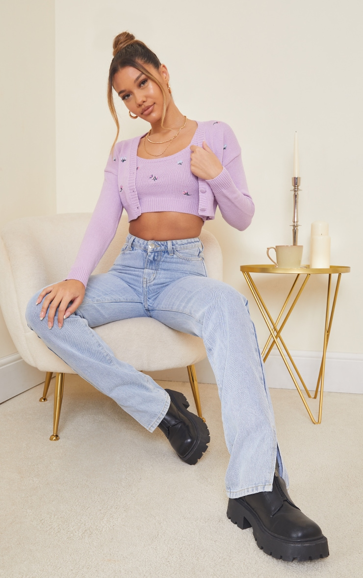 Lilac Embroidered Knitted Cropped Top 3