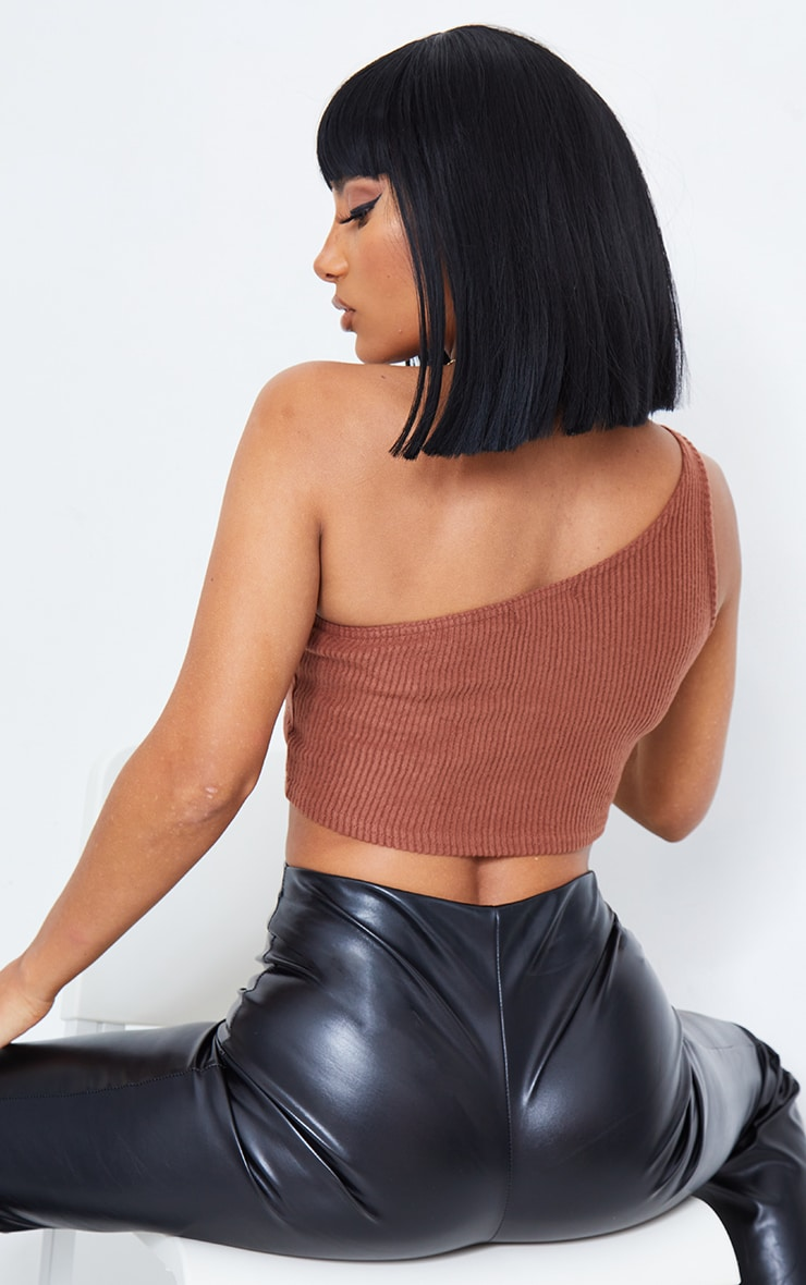 Brown Brushed Rib One Shoulder Crop Top 3