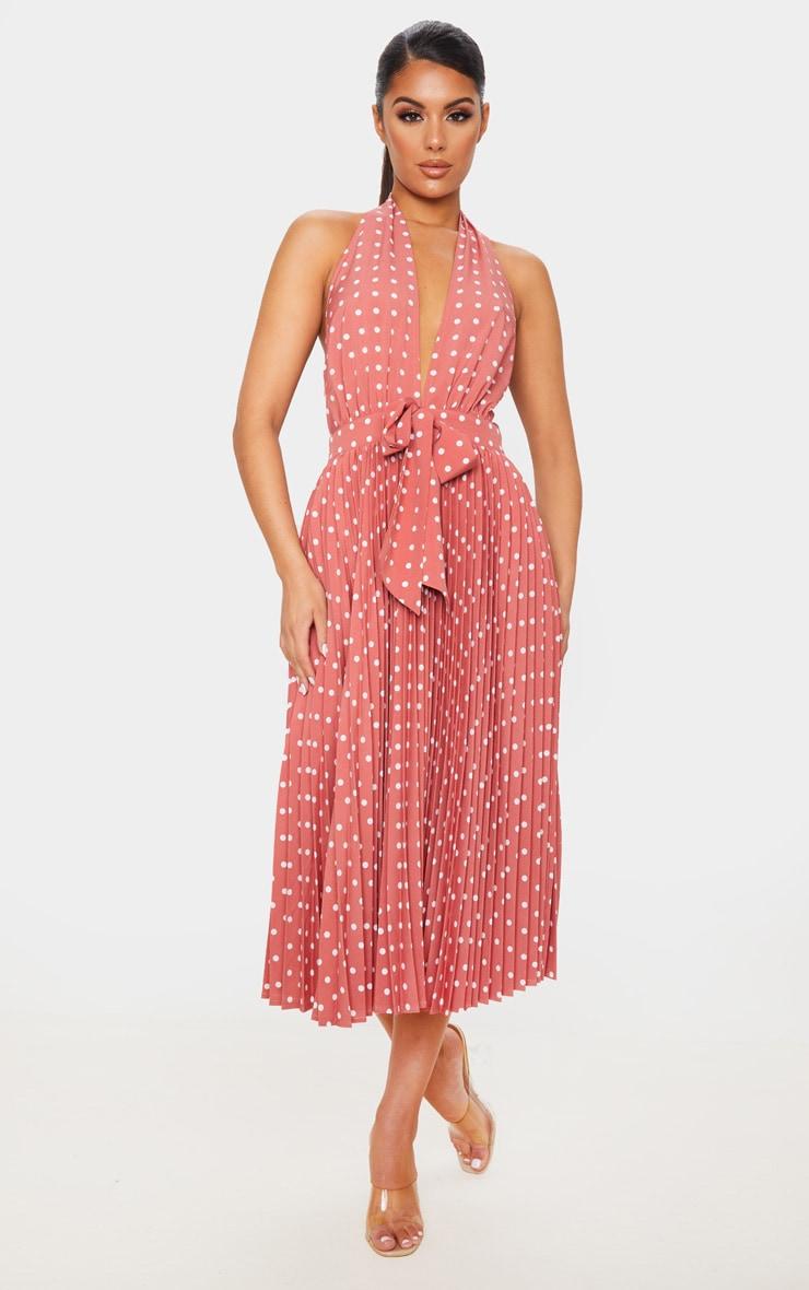 Dusty Pink Halterneck Pleated Midi Dress 1