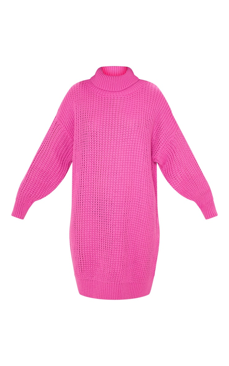 Hot Pink Oversized High Neck Knitted Sweater Dress 3