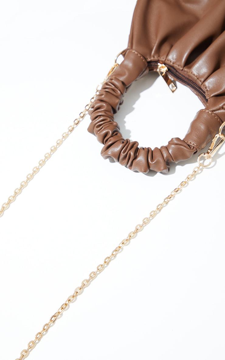 Chocolate Ruched Mini Grab bag 4