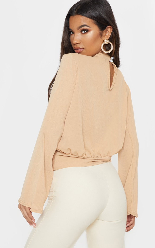 Tan Chiffon Choker Detail Long Sleeve Blouse 2