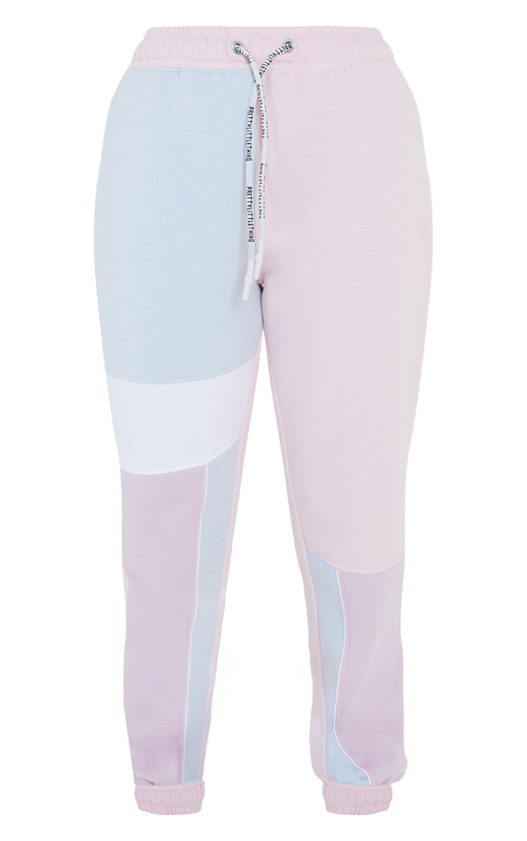 Baby Blue Contrast Panel Joggers 5