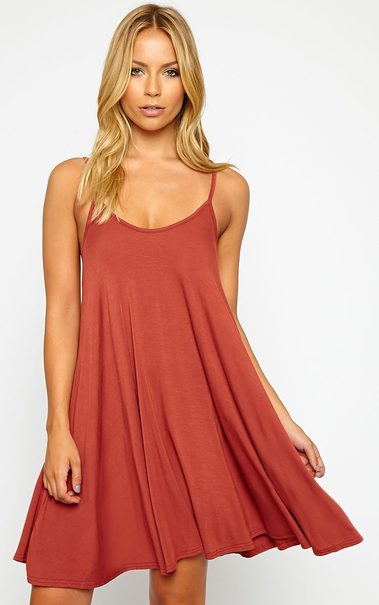 Basic Rust Strappy Jersey Swing Dress 1