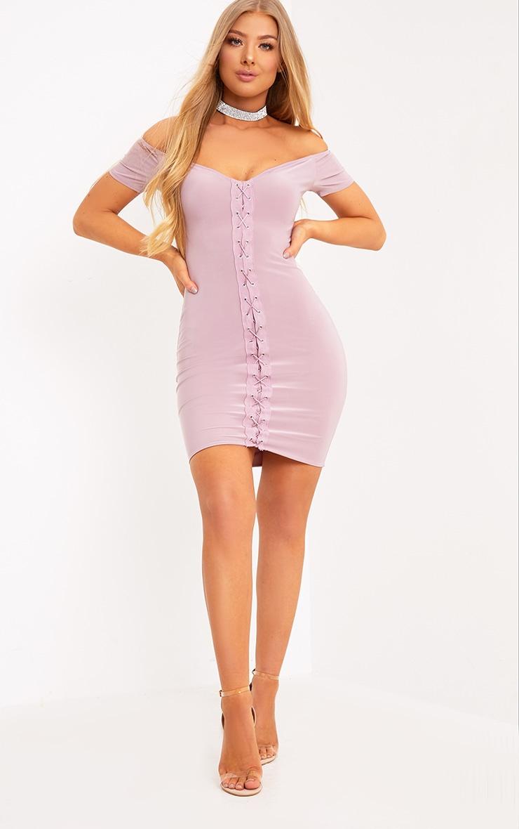 Fae Lilac Lace Up Cap Sleeve Bardot Bodycon Dress 4
