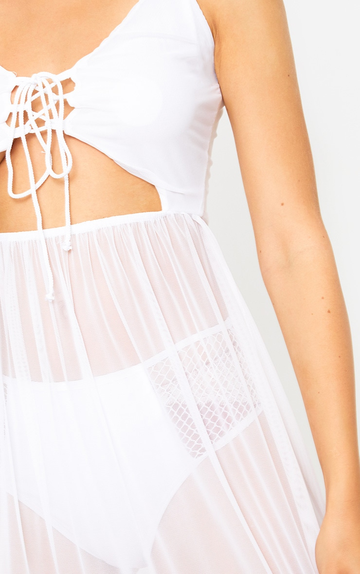 White Sheer Tie Front Mesh Maxi Dress 5