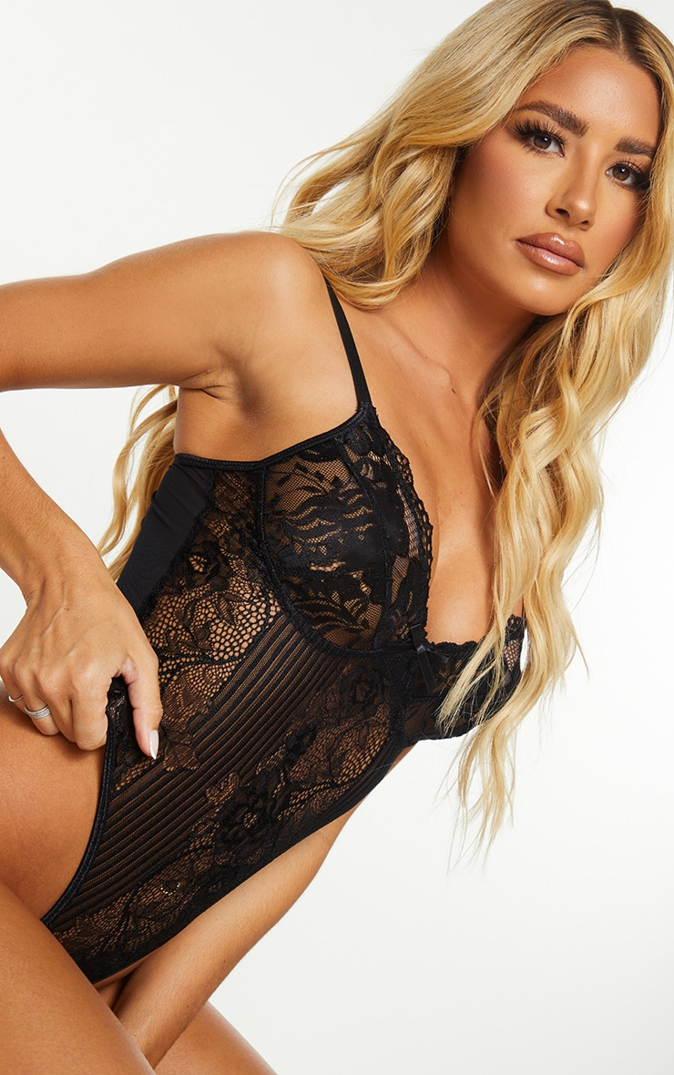 Black Lace Insert High Leg Cupped Body 4