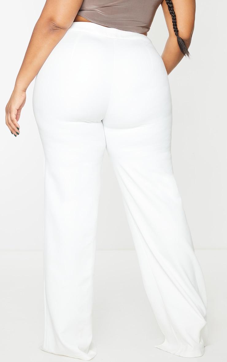 Plus White Split Hem Pants 3