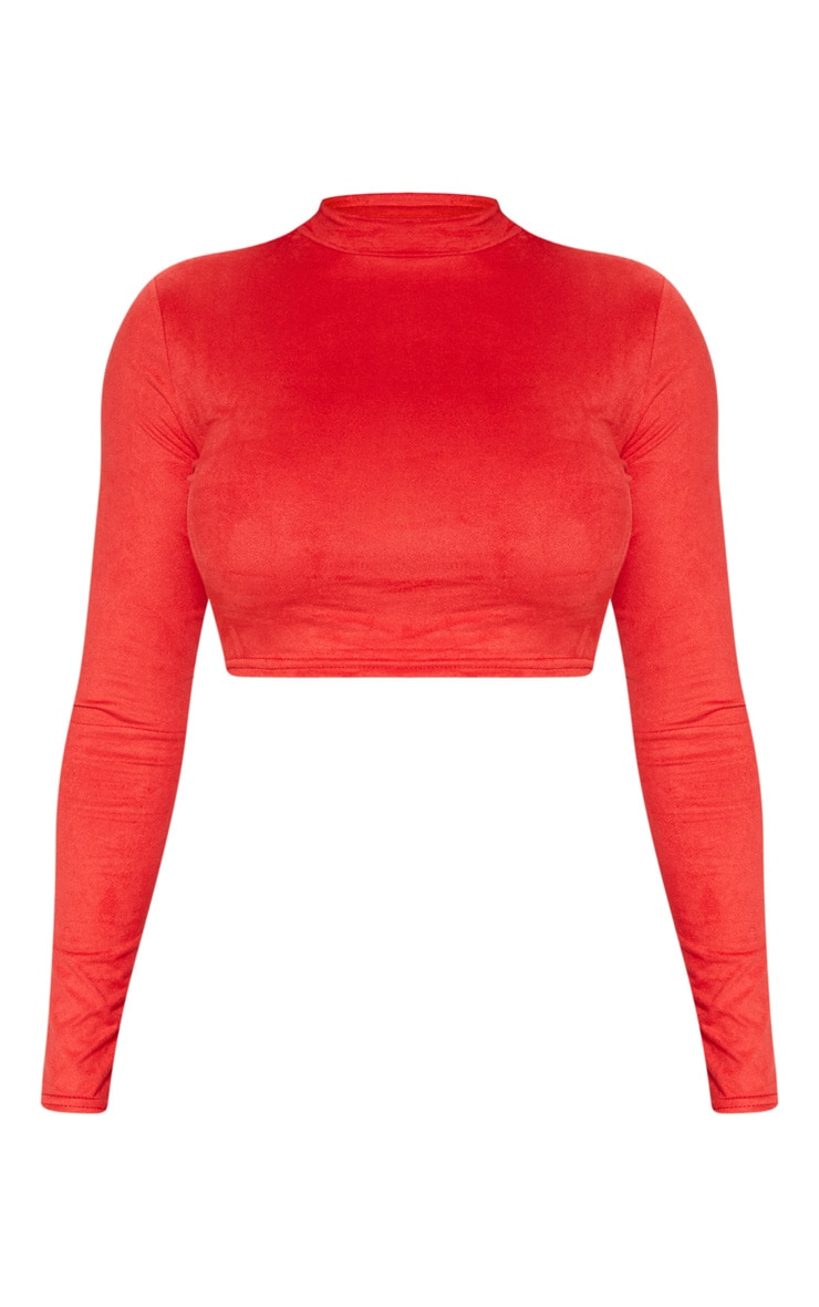 Shape Red Faux Suede High Neck Crop Top 3