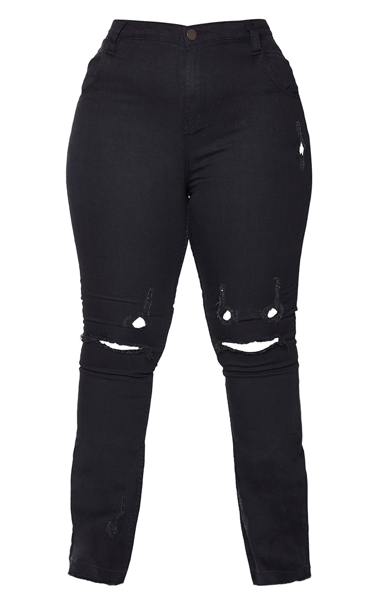 Plus Black Ripped Knee Flare Jeans 5