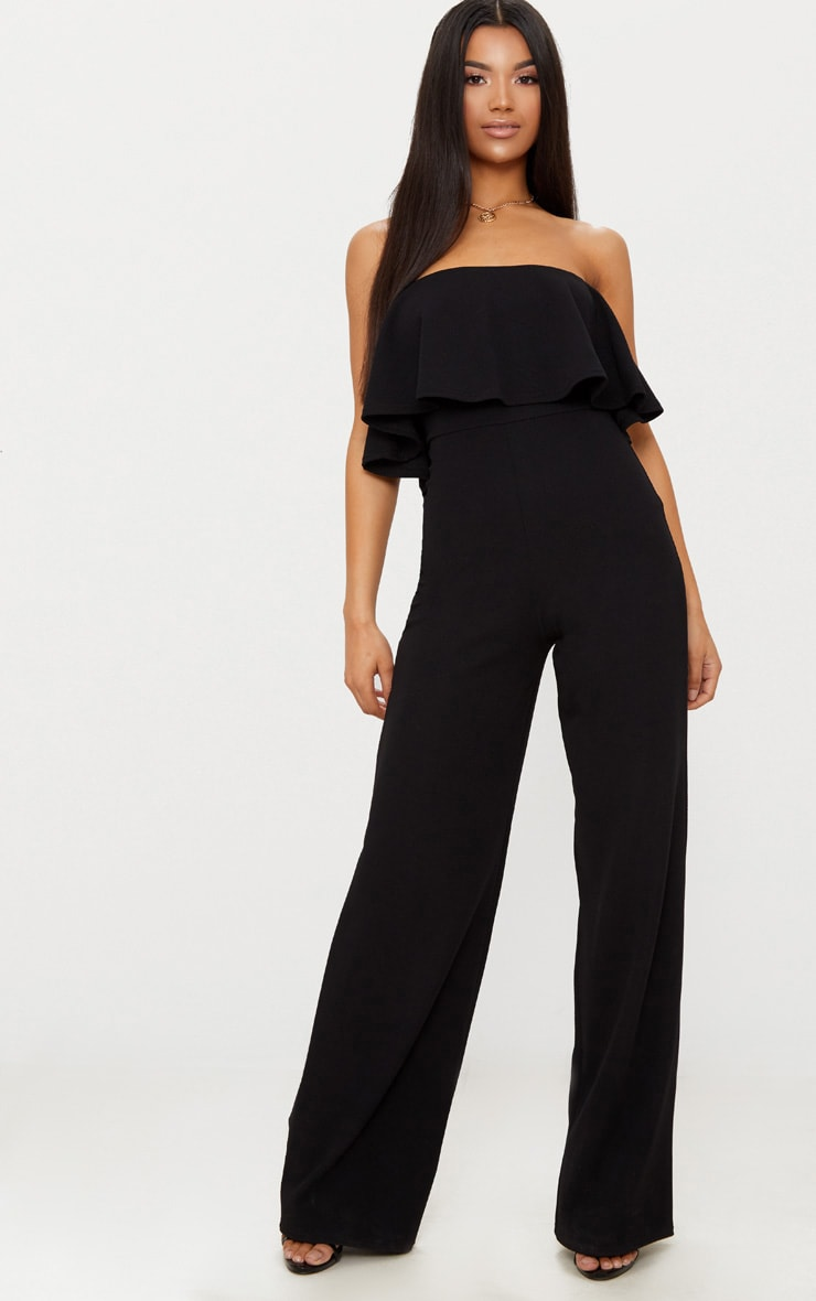 Black Bardot Double Layer Jumpsuit 1