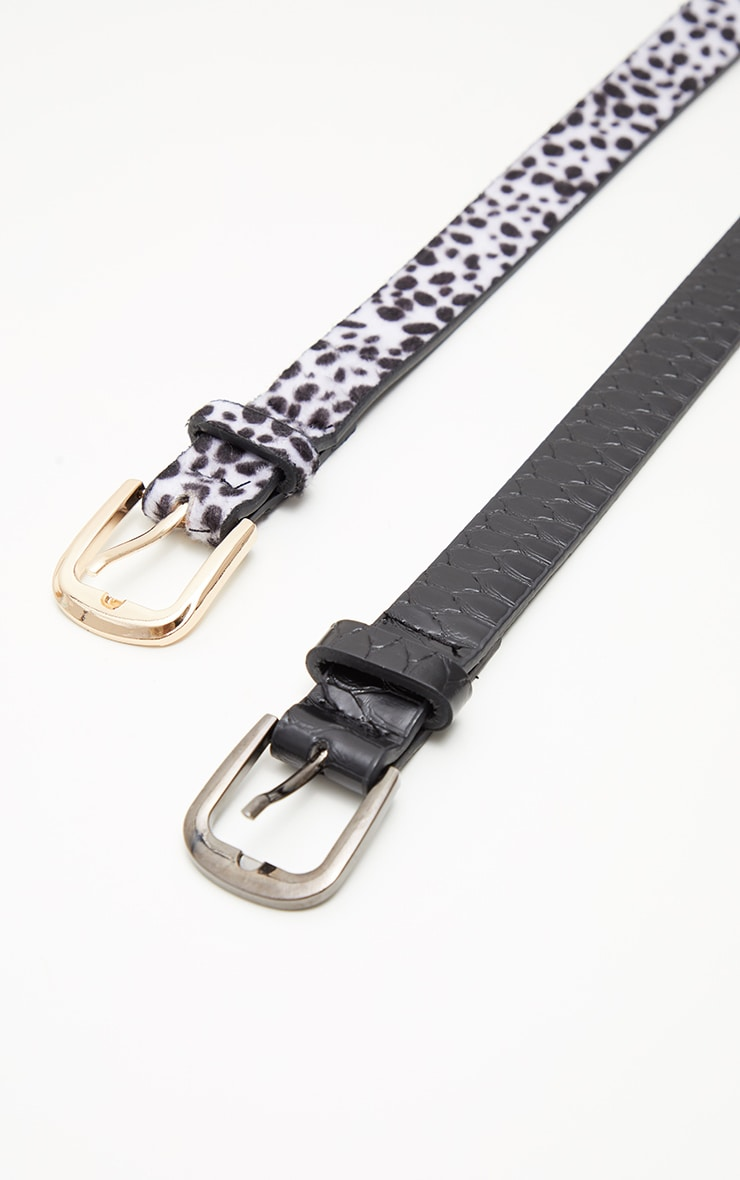 2 Pack Dalmatian And Black Croc PU Belts