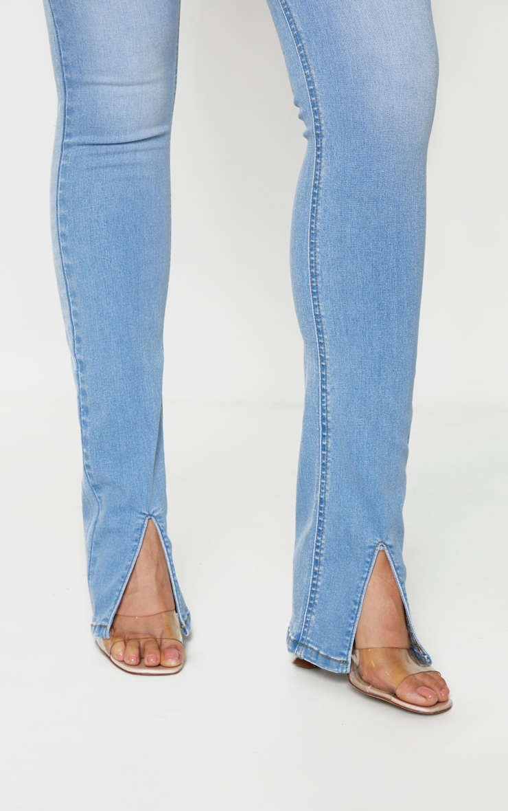 Tall Light Blue Wash Split Front Skinny Jeans 6