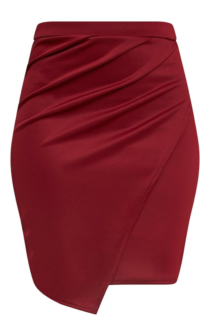 Sherianne Burgundy Wrap Midi Skirt 3
