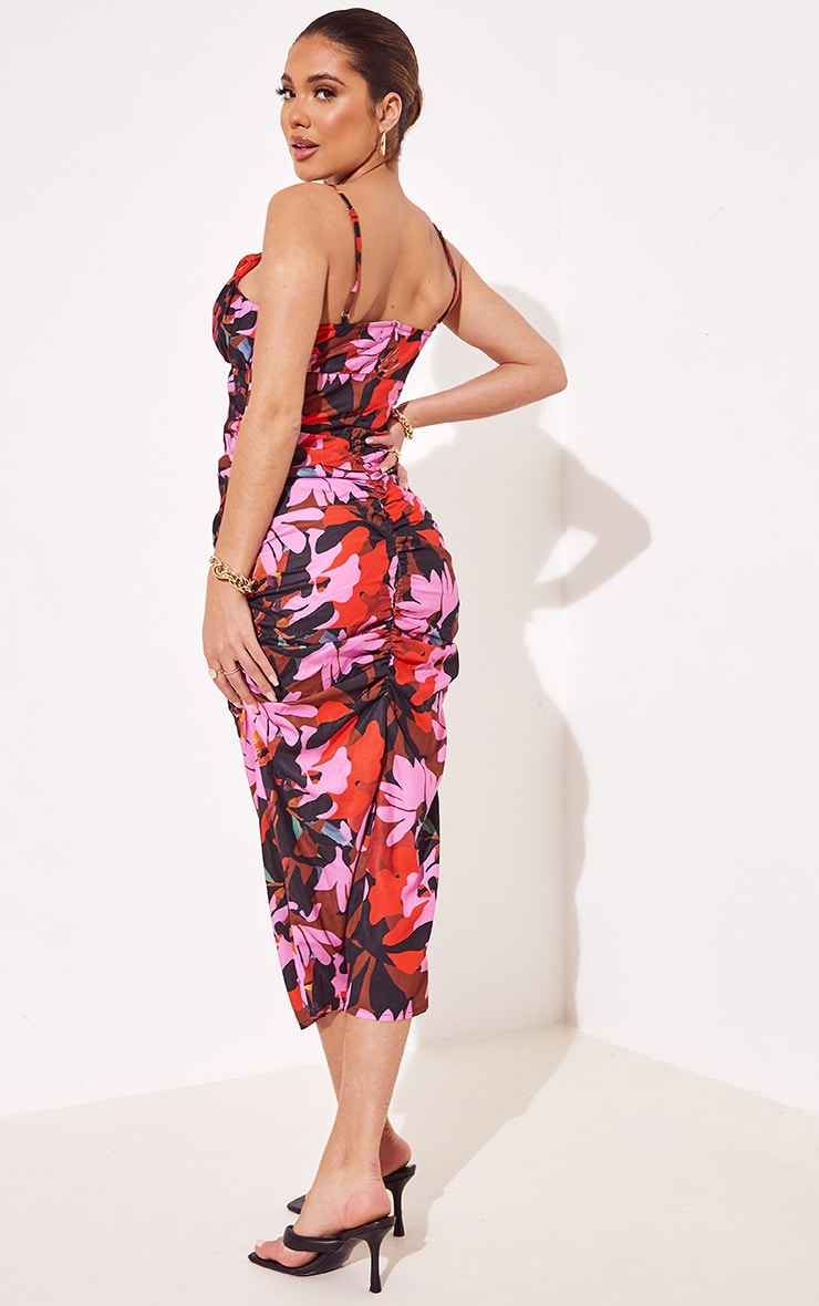 Multi Floral Print Woven Strappy Detail Ruched Midi Dress 2
