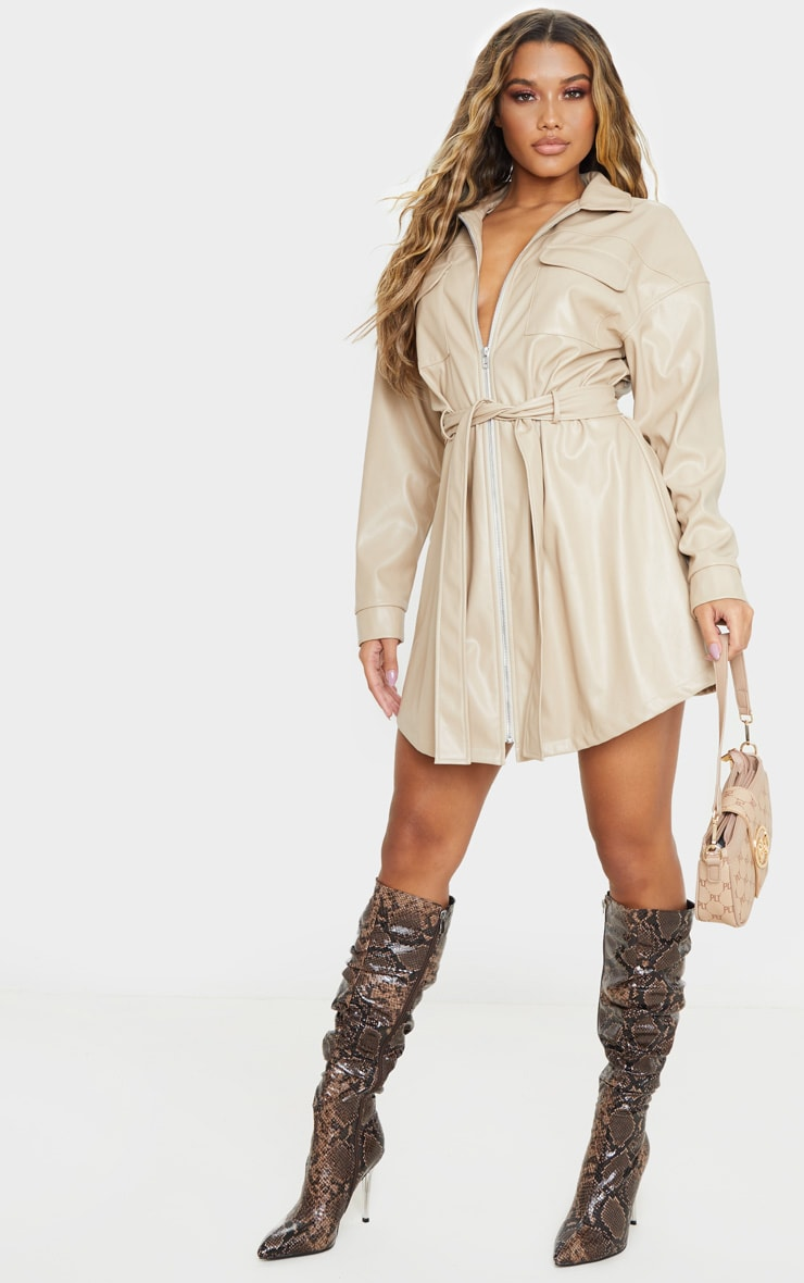 Stone Faux Leather Zip Front Belted Long Sleeve Shirt Dress 4