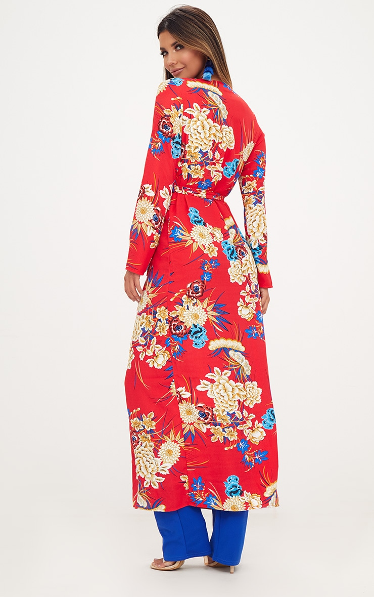 Red Floral Maxi Duster 2