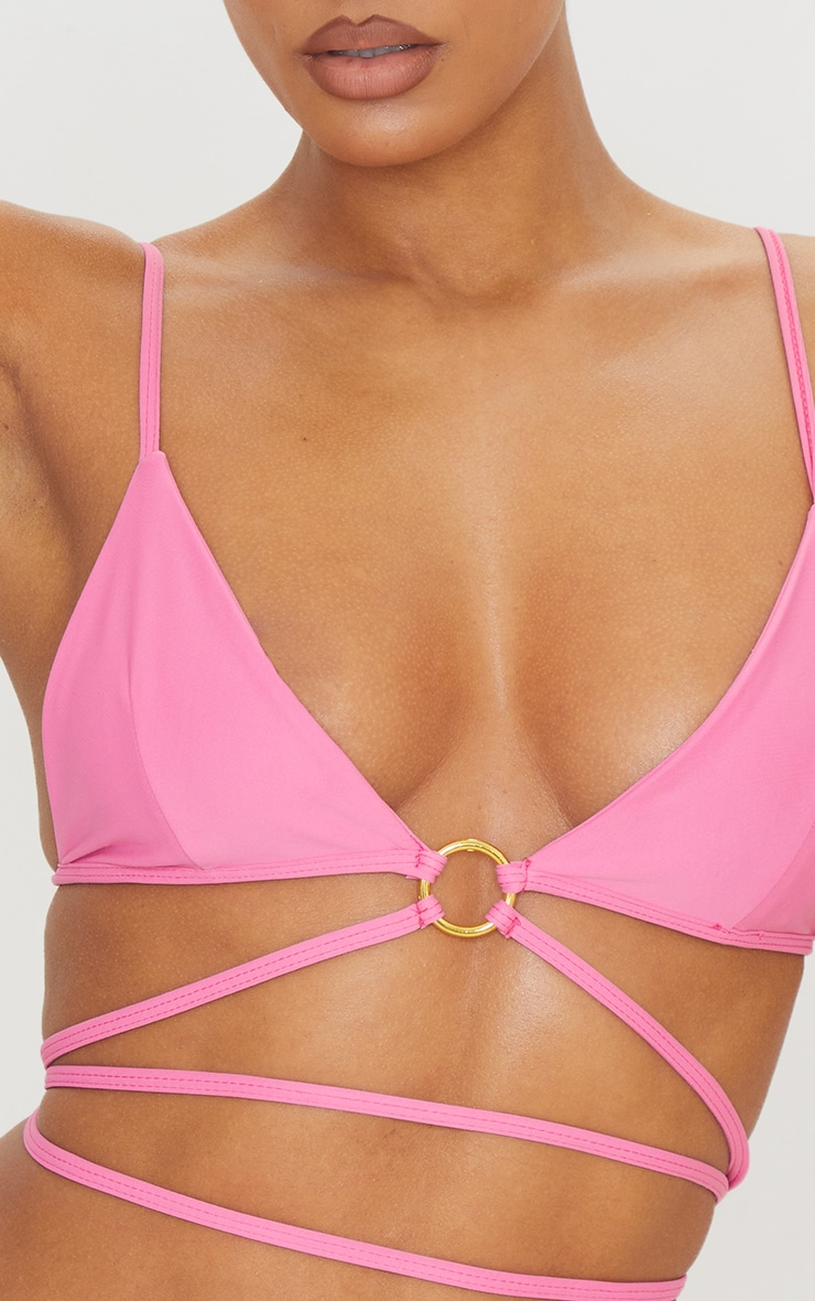 Hot Pink Ring Side Tie Bikini Bottoms 5