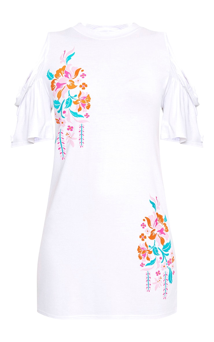 White Cold Shoulder Embroidered Print Shift Dress 3