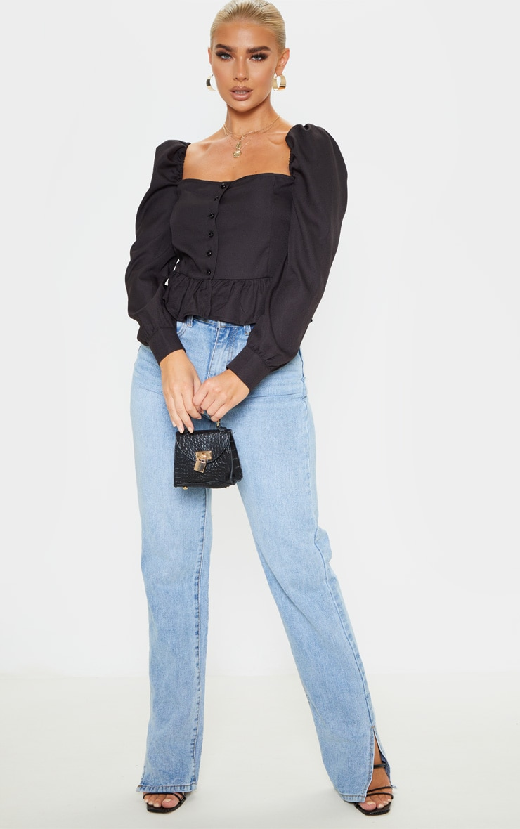 Black Cropped Frill Hem Square Neck Puff Sleeve Blouse 4