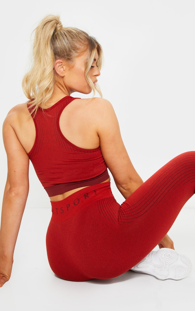 PRETTYLITTLETHING Red Rib Line Detail Seamless Sports Bra 2