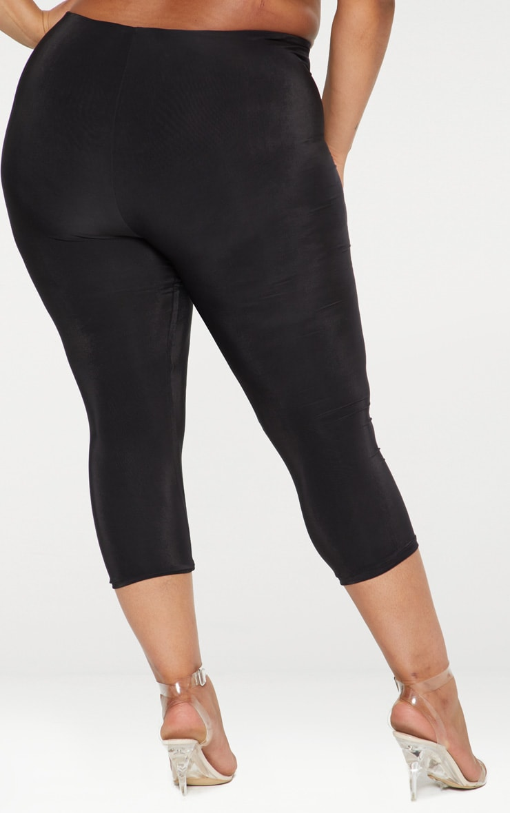 Plus Second Skin Black Slinky Cropped Leggings 3