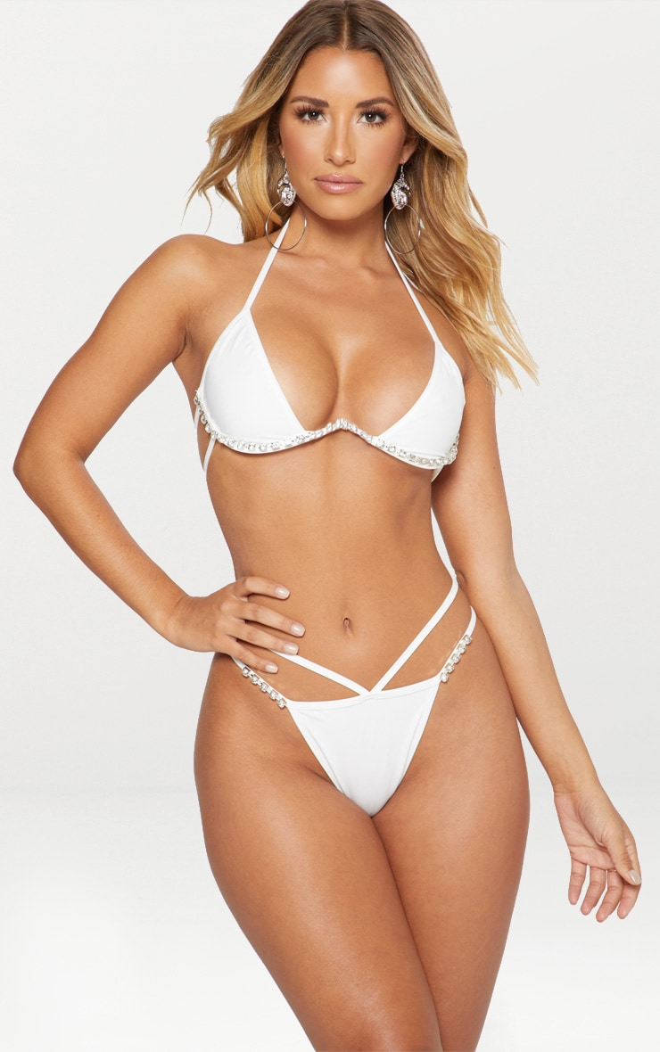 White Diamante Cleavage Wire Bikini Top