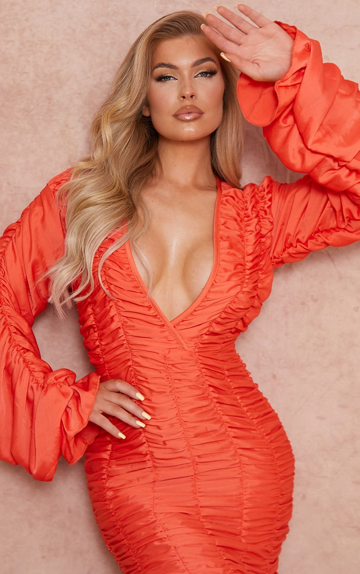 Coral Gathered Detail Plunge Ruched Sleeve Bodycon Dress 4