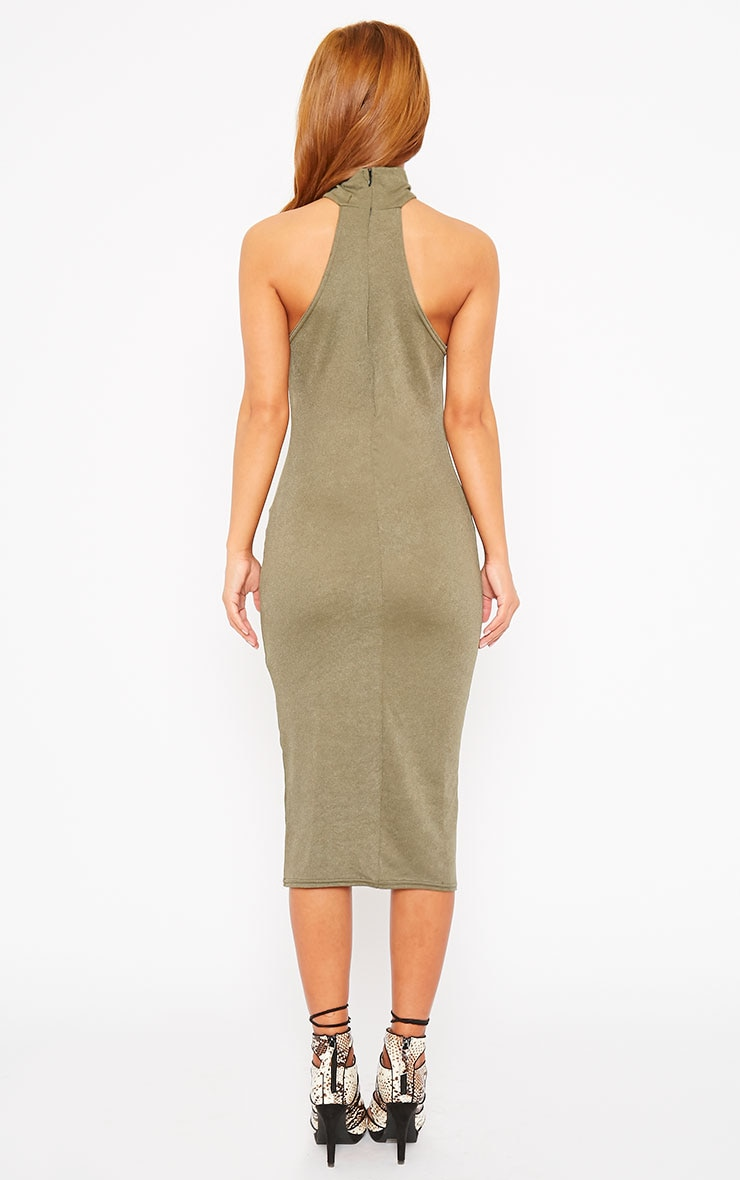 Sara Khaki Polo Neck Midi Dress 2