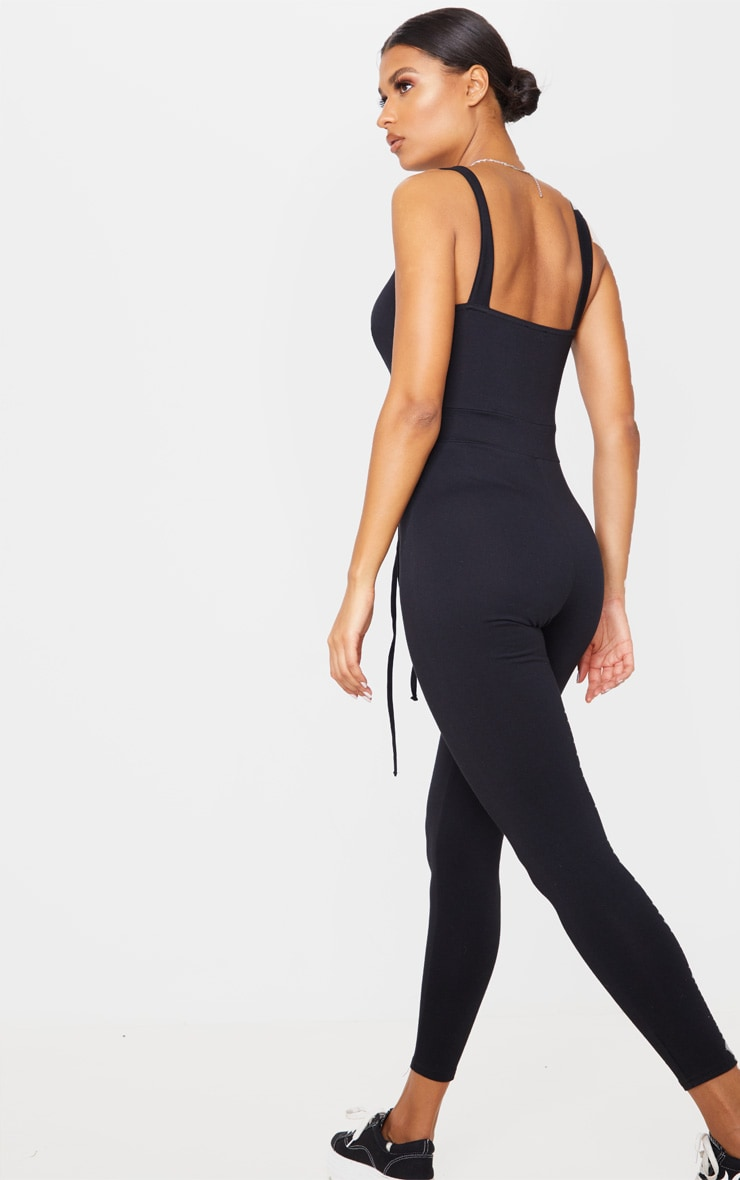 Black Binding Tie Waist Jumpsuit 2