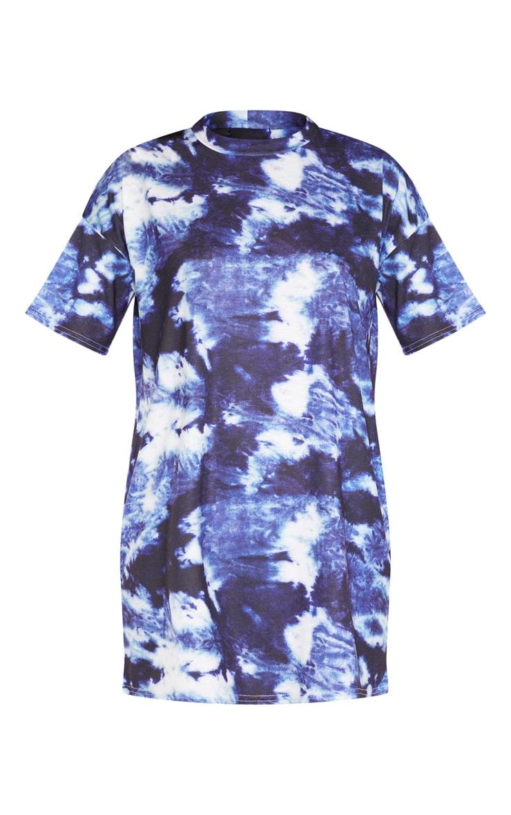 Blue Tie Dye Oversized T-Shirt Dres 3
