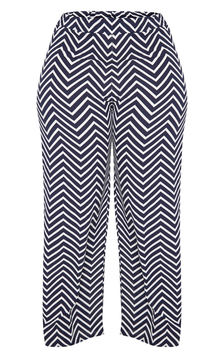 Plus Navy Chevron Wide Leg Trousers 3
