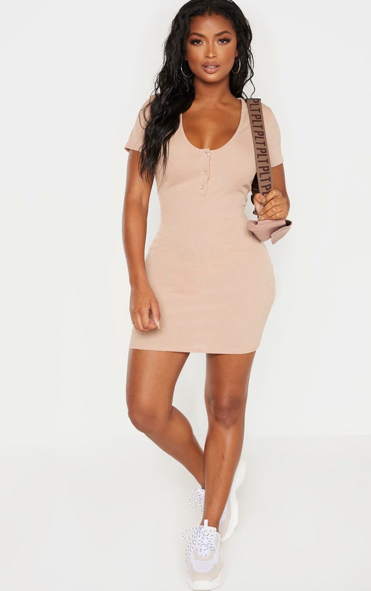 Shape Stone Ribbed Button Front Bodycon Dress 4