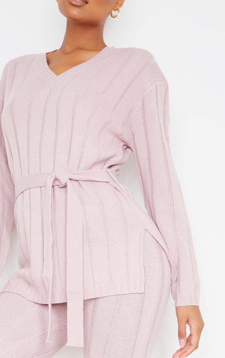 Rose Belted Longline Sweater And Legging Lounge Set 4