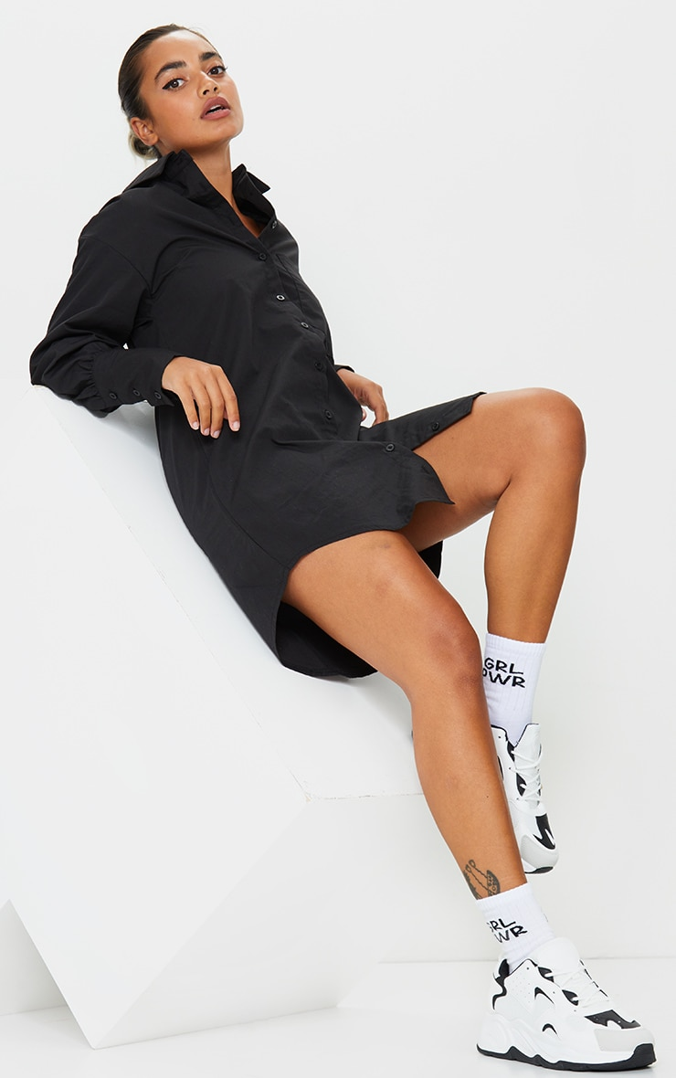 Petite Black Oversized Cuff Shirt Dress 3
