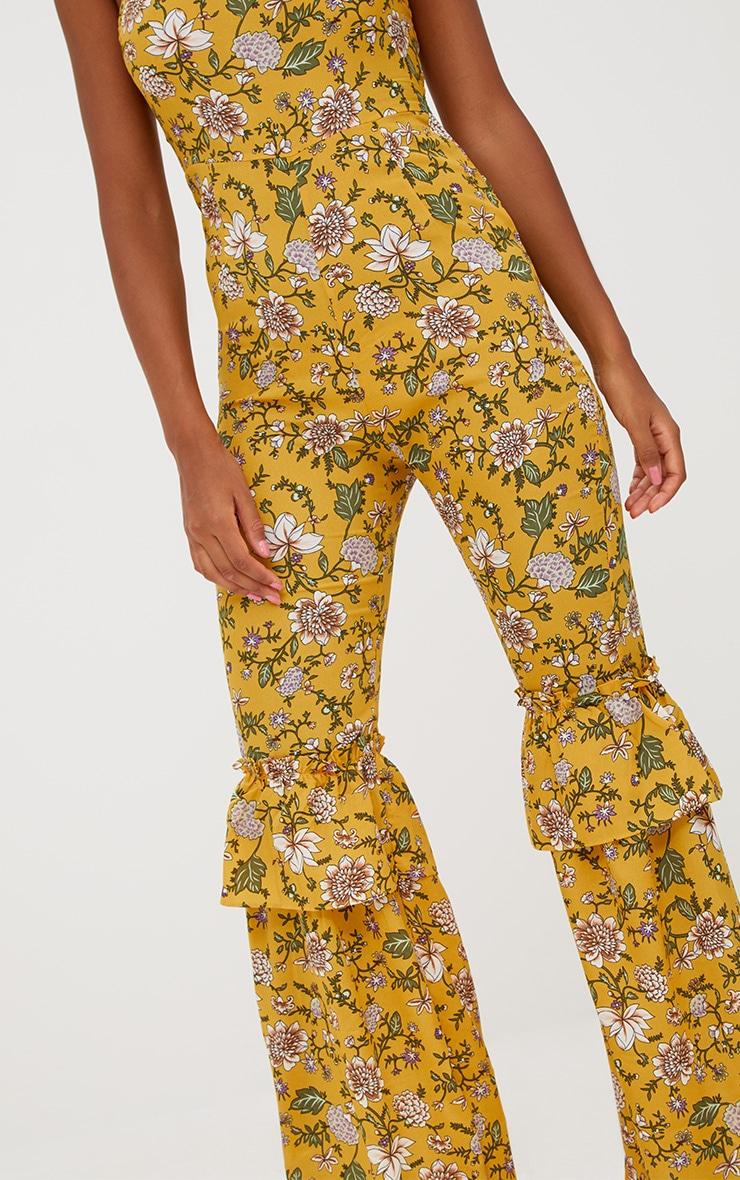 Mustard Floral High Neck Frill Leg Jumpsuit 5