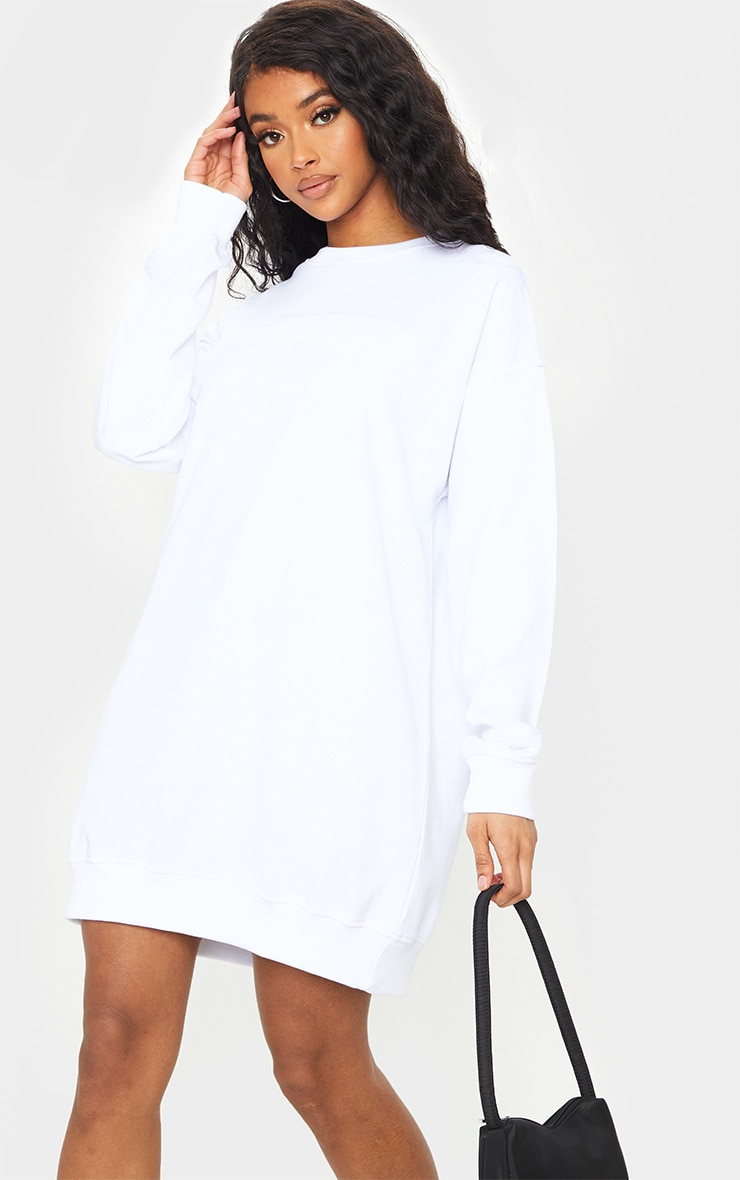 PRETTYLITTLETHING White Embossed Slogan Sweater Dress 1