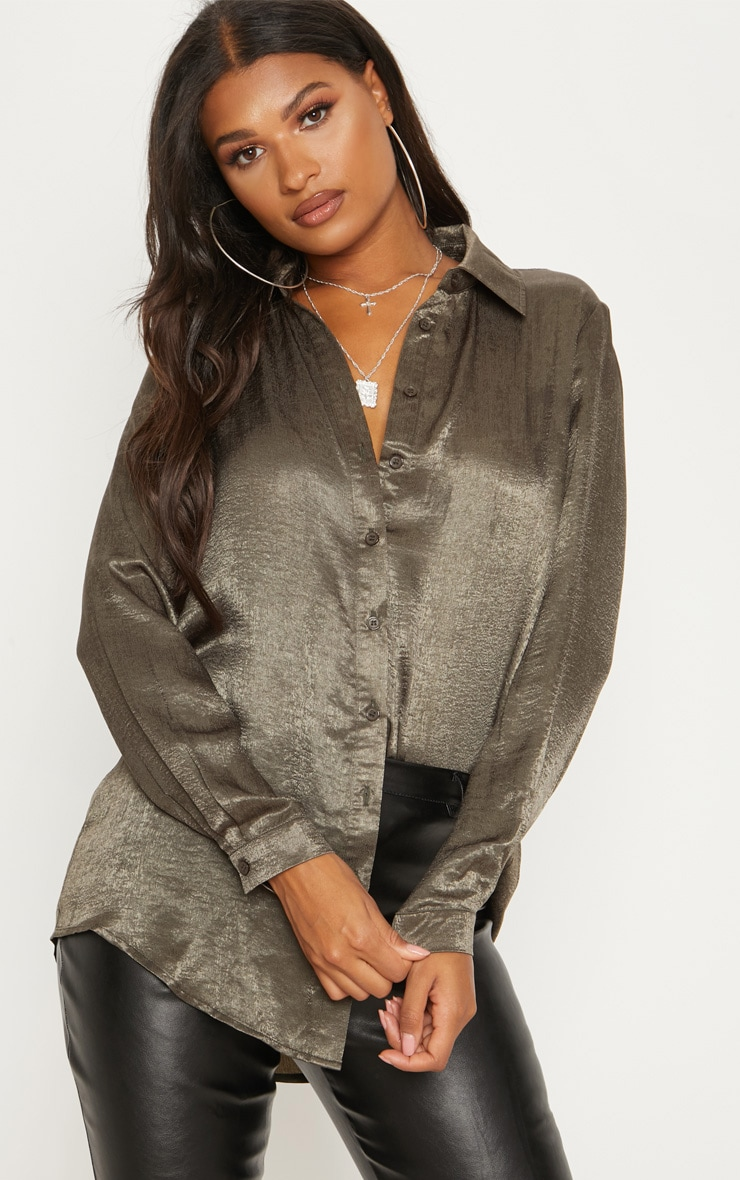 Khaki Oversized Satin Shirt 1
