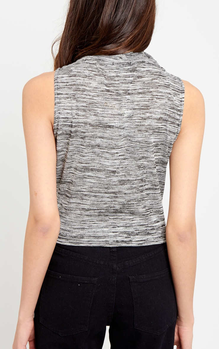 Karel Grey Turtle Neck Crop Vest 2