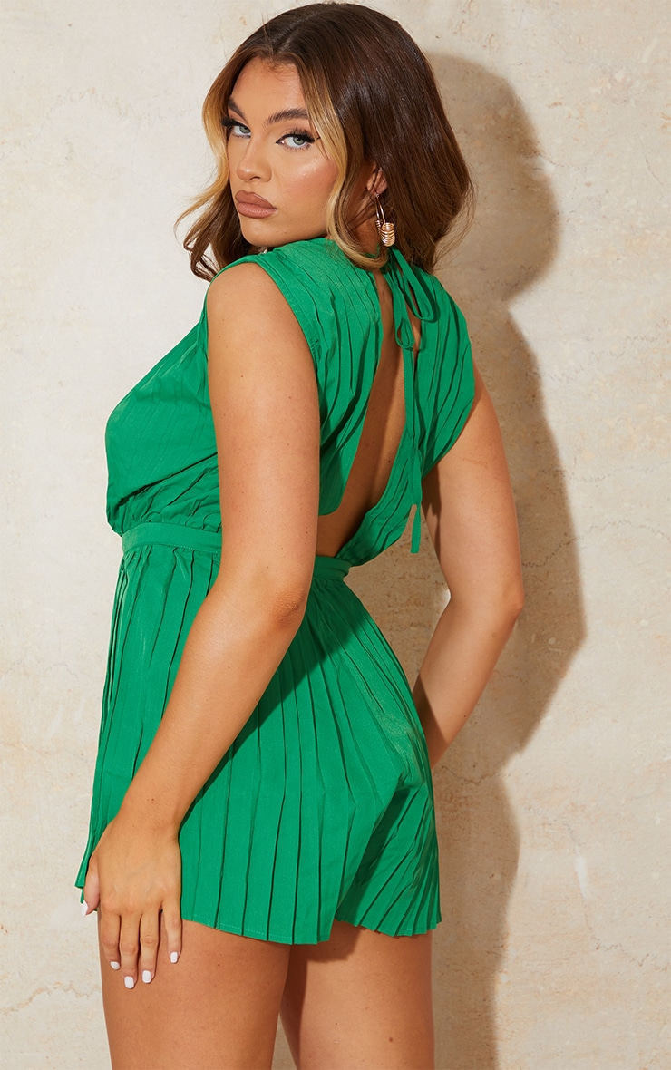 Bright Green Pleated Shoulder Pad Plunge Romper 2