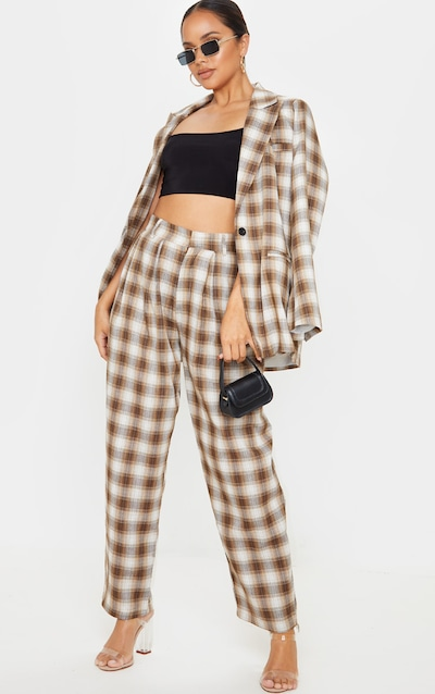 Brown Check Woven High Waisted Cigarette Trousers