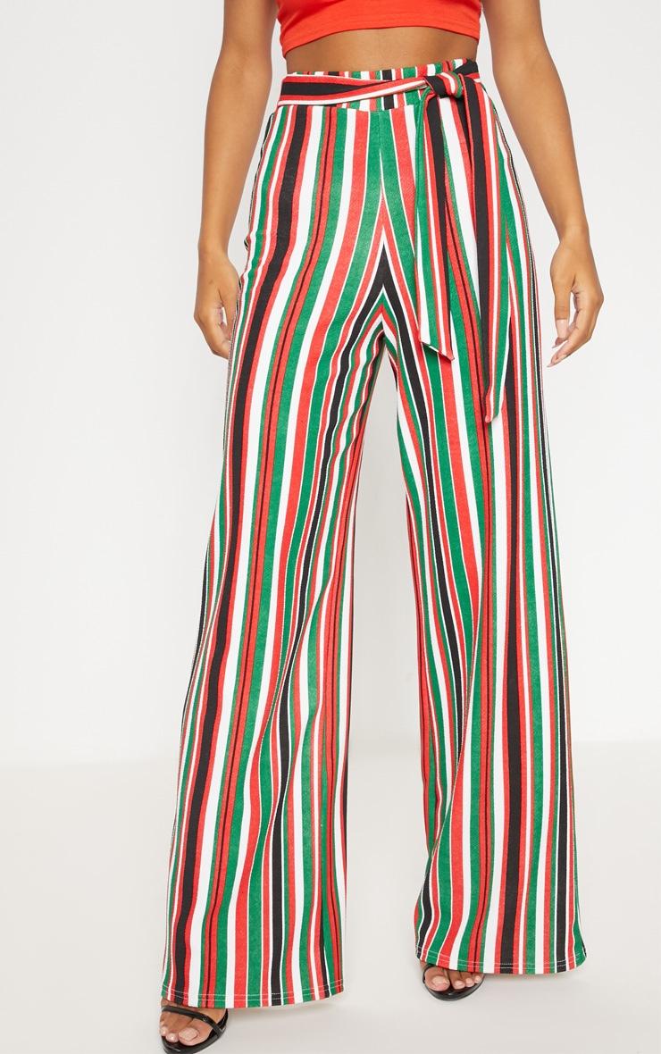 Multi Tie Waist Stripe Wide Leg Trouser 2